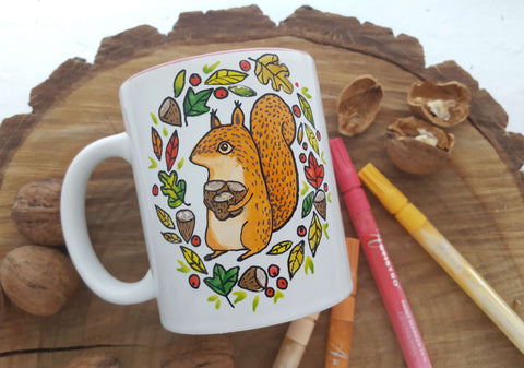 Mug painting with squirell