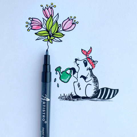 Raccoon and flower effect drawing