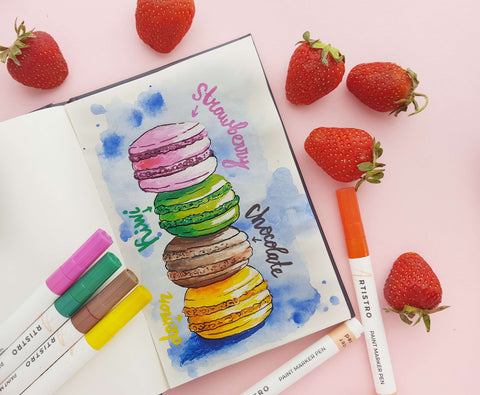 Rainbow macaroon painting-what to draw when bored