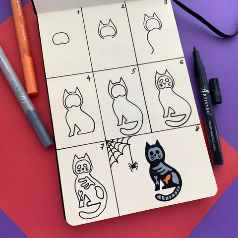 Witch cat drawing-things to draw
