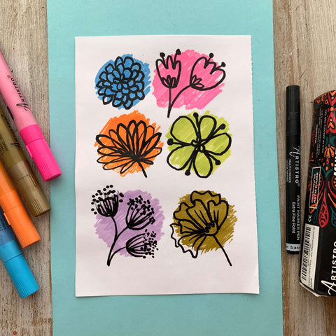 paper flowers painting