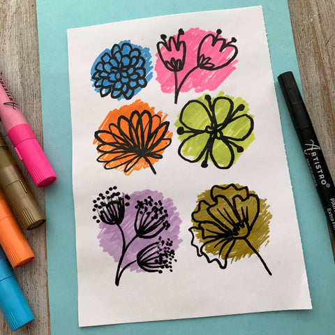 Flowers in blooming colors drawing