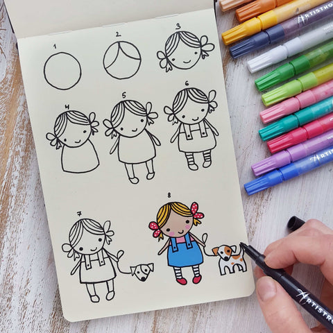 step by step drawing girl