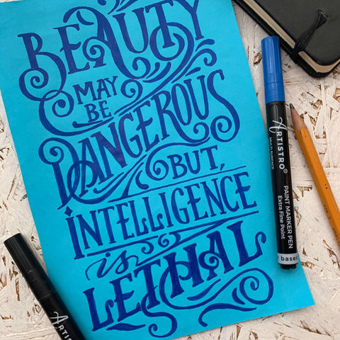 Lethal weapons of the 21st century hand lettering on paper-things to draw
