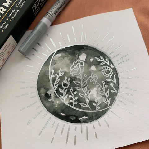 Flower eclipse drawing