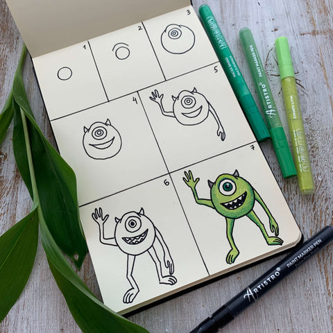 Greetings from Mike Wazowski drawing-easy things to draw