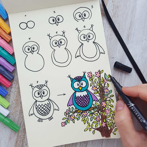 Wise Owl drawing-things to draw