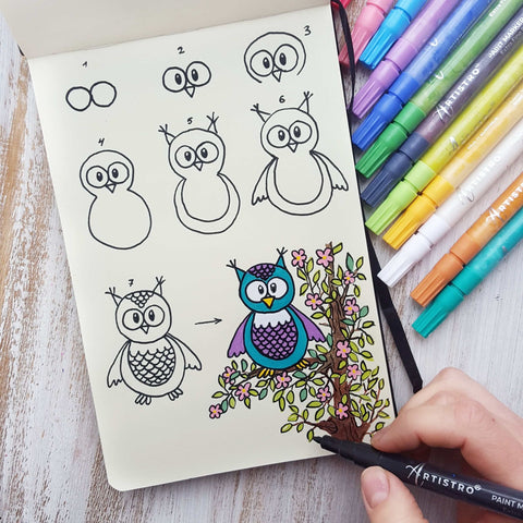 step by step drawing owl