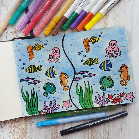 Underwater landscape drawing-things to draw