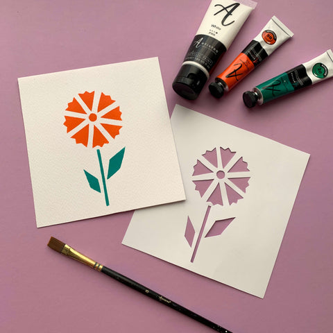 flower stencil painting