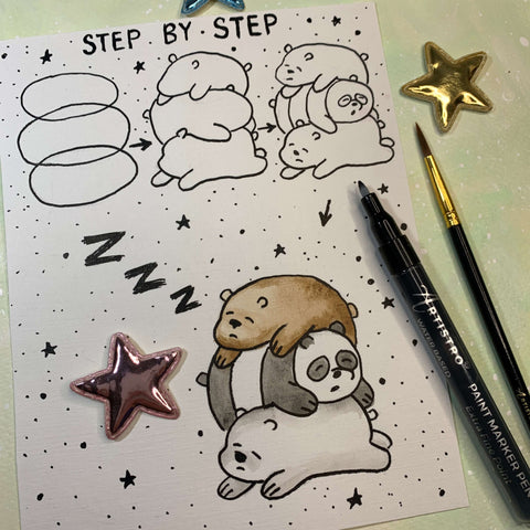 step by step drawing bear