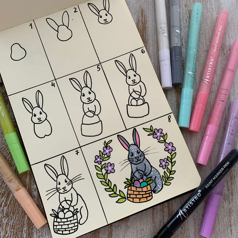 Follow the Easter rabbit drawing