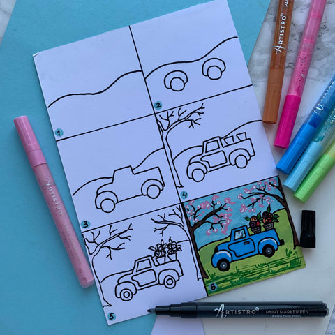 step by step drawing car