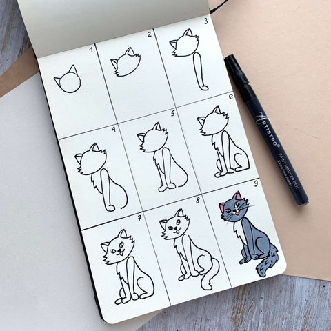 step by step drawing cat