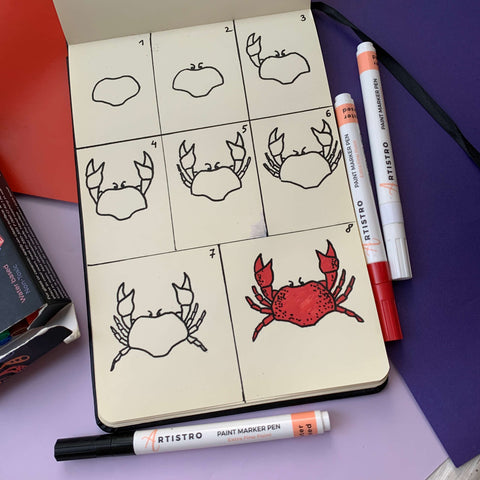 step bys tep drawing crab