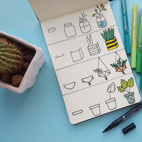 step by step drawing plants