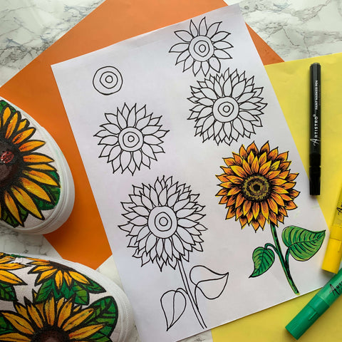 step by step drawing sunflower