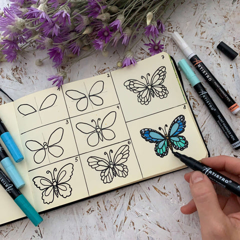 step by step drawing butterfly