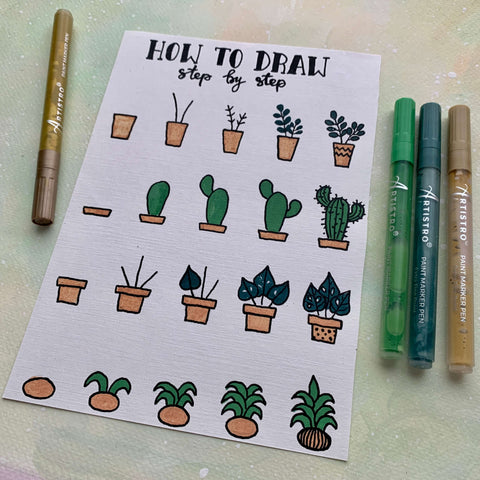 step by step drawing cactus