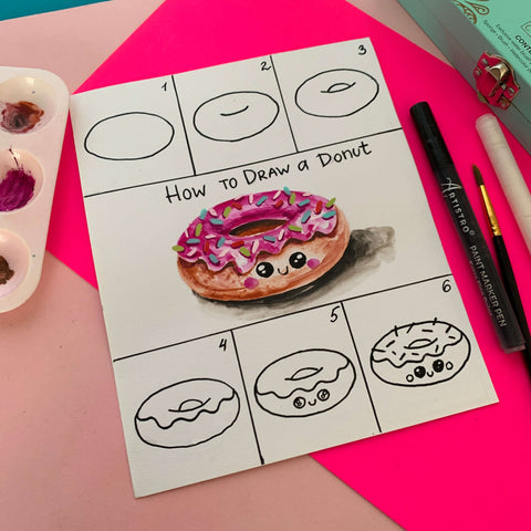 step by step drawing donut