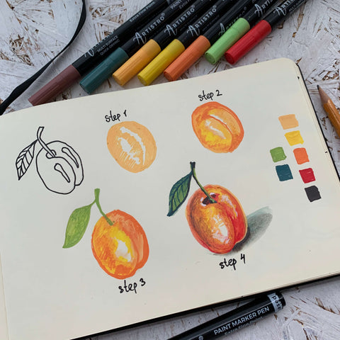 step by step drawing plum