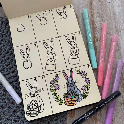 step by step drawing easter bunny