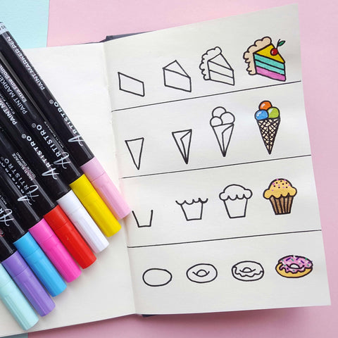 step by step drawing sweet cake
