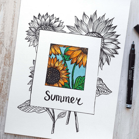 Greeting summer with sunflowers drawing-things to draw