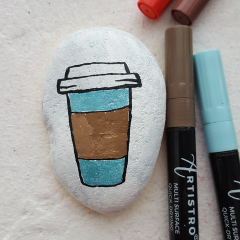 paper coffee cup rock painting