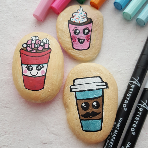 coffee cup painted rocks