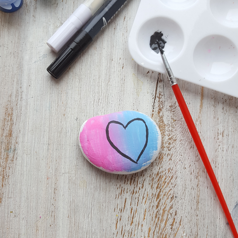 heart painting on stone