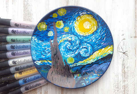 Plate design painting with Van Gogh