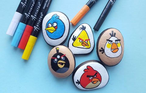 Angry Birds Rock Painting
