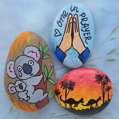 Once Upon a Time in Australia Rock Painting ideas