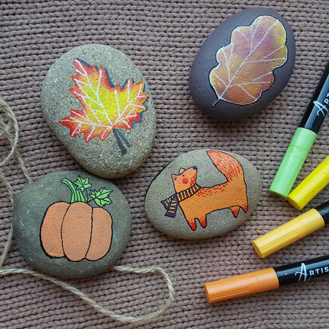 autumn Story leaves Rock Painting ideas