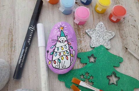 New Year Cat Tree Rock Painting