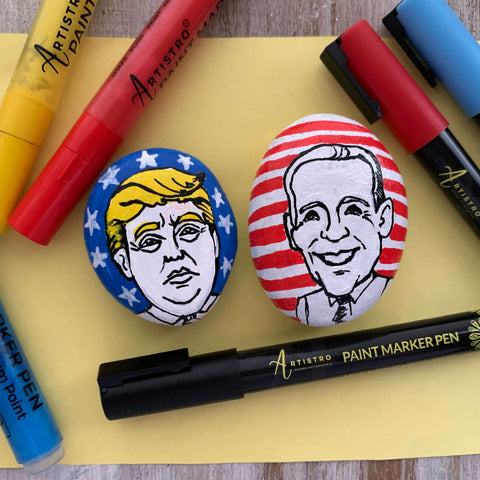 rock painting with Trump