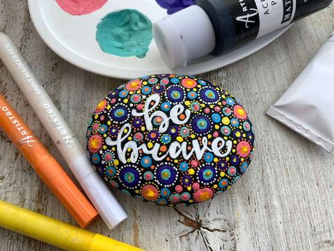 The Brave One Stone dots Rock Painting ideas