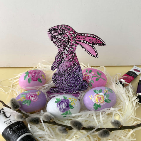 easter bunny eggs painting