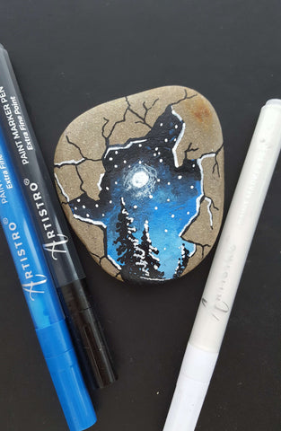 Moonlight Forest Rock Painting