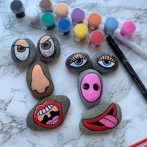 Pretty Woman funny faces Rock Painting ideas