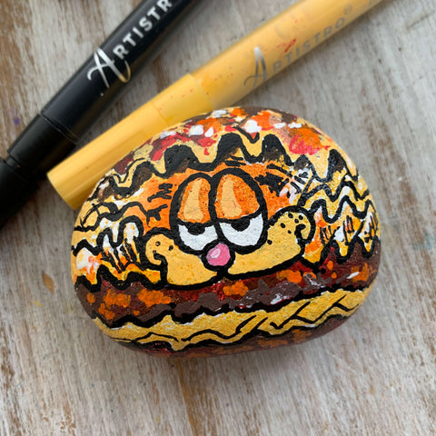 Cat on a Diet Rock Painting ideas
