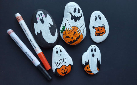ghost rock painting on halloween
