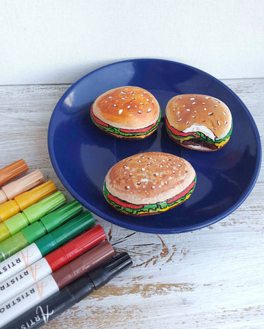 King of fast food Rock Painting ideas