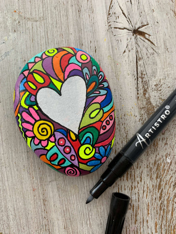 heart painting rock