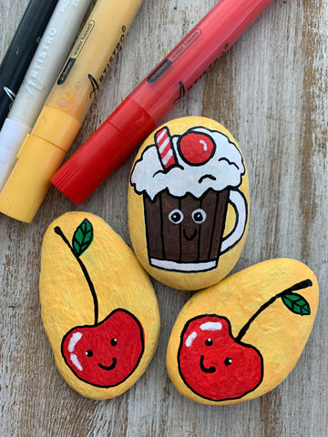 National Root Beer Float Day Rock Painting