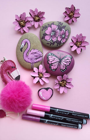 pink flamingo and butterfly