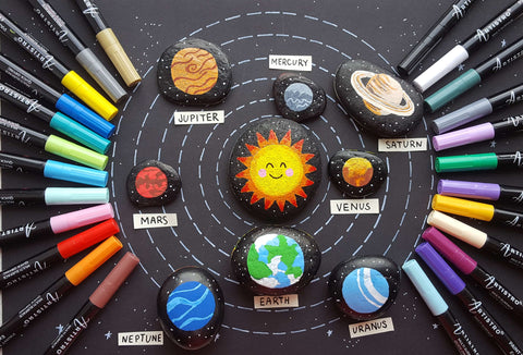 Solar System Family Rock Painting