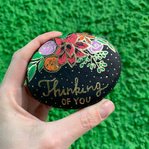 Forget-me-not thinking of you Rock Painting ideas