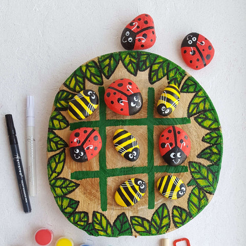 Funny Spring Beetles tic tac toe Rock Painting ideas